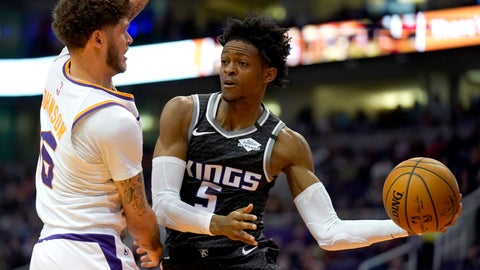 <p>               Sacramento Kings guard De'Aaron Fox (5) looks to pass around Phoenix Suns guard Tyler Johnson in the first half during an NBA basketball game, Tuesday, Jan. 7, 2020, in Phoenix. (AP Photo/Rick Scuteri)             </p>