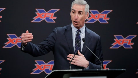 "<p>               FILE - In this Feb. 25, 2019, file photo, XFL Commissioner Oliver Luck gestures during a press conference in Seattle.  When the XFL debuts in February, it will take a ""Star Trek"" approach of going where no football league has gone before. (AP Photo/Ted S. Warren, File)             </p>"