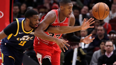 <p>               Utah Jazz guard Emmanuel Mudiay, left, and Chicago Bulls guard Kris Dunn battle for the ball during the first half of an NBA basketball game in Chicago, Thursday, Jan. 2, 2020. (AP Photo/Nam Y. Huh)             </p>