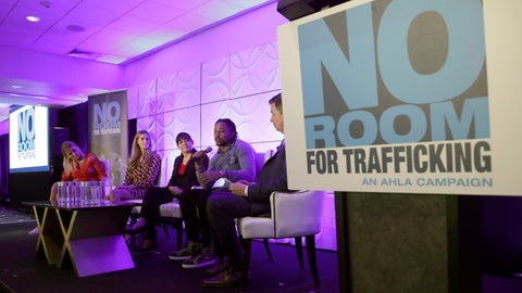 <p>               Miami Dolphins wide receiver Albert Wilson, second from right, speaks during a meeting between law enforcement officials and hotel groups to announce a campaign to prevent human trafficking surrounding next month's Super Bowl NFL football game in the Miami area, Thursday, Jan. 9, 2020, in Miami Beach, Fla. (AP Photo/Lynne Sladky)             </p>