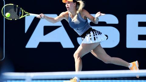 <p>               Denmark's Caroline Wozniacki plays a shot during her semifinal singles match against Jessica Pegula of the U.S., at the ASB Classic in Auckland, New Zealand. Saturday Jan. 11, 2020. (Andrew Cornaga/Photosport via AP)             </p>