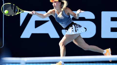 <p>               Denmark's Caroline Wozniacki plays a shot during her semifinal singles match against Jessica Pegula of the U.S., at the ASB Classic in Auckland, New Zealand. Saturday Jan. 11, 2020. (Andrew Cornaga/Photosport via AP)             </p>