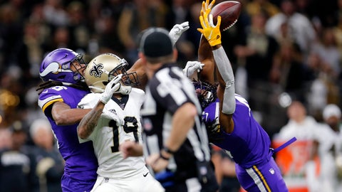 <p>               Minnesota Vikings defensive back Anthony Harris intercepts a pass intended for New Orleans Saints wide receiver Ted Ginn (19) in the first half of an NFL wild-card playoff football game, Sunday, Jan. 5, 2020, in New Orleans. (AP Photo/Brett Duke)             </p>