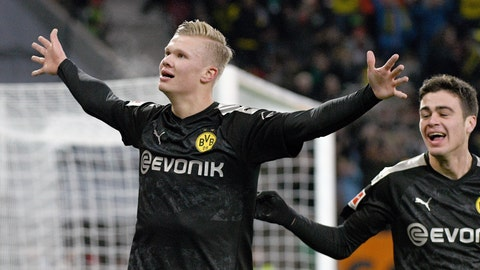 <p>               Dortmund's Erling Haaland celebrates after scoring his third goal of the game during the German Bundesliga soccer match between Borussia Dortmund FC Augsburg at the WWK Arena in Augsburg, Germany, Saturday, Jan. 18, 2020. (Tom Weller/dpa via AP)             </p>