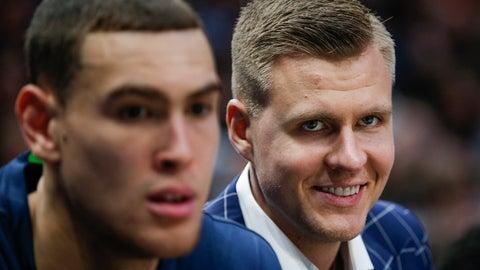 <p>               Dallas Mavericks forwards Kristaps Porzingis, right, and Dwight Powell watch from the bench during the first half of the team's NBA basketball game against the Portland Trail Blazers, Friday, Jan. 17, 2020, in Dallas. (AP Photo/Brandon Wade)             </p>