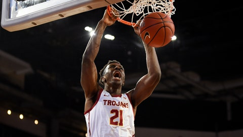 <p>               Southern California forward Onyeka Okongwu dunks during the first half of the team's NCAA college basketball game against Stanford in Los Angeles, Saturday, Jan. 18, 2020. (AP Photo/Kelvin Kuo)             </p>