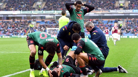 <p>               Aston Villa's Wesley receives treatment after an injury , during the English Premier League soccer match between Burnley and Aston Villa, at Turf Moor, Burnley, England, Wednesday Jan. 1, 2020. (Anthony Devlin/PA via AP)             </p>