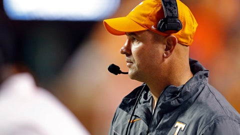 <p>               Tennessee head coach Jeremy Pruitt watches the first half of an NCAA college football game against Vanderbilt, Saturday, Nov. 30, 2019, in Knoxville, Tenn. (AP Photo/Wade Payne)             </p>