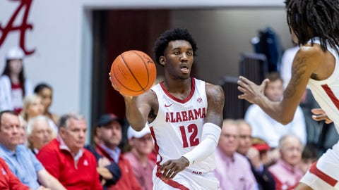 <p>               Alabama guard Jaylen Forbes (12) passes the ball during the first half of an NCAA college basketball game against Auburn, Wednesday, Jan. 15, 2020, in Tuscaloosa, Ala. (AP Photo/Vasha Hunt)             </p>