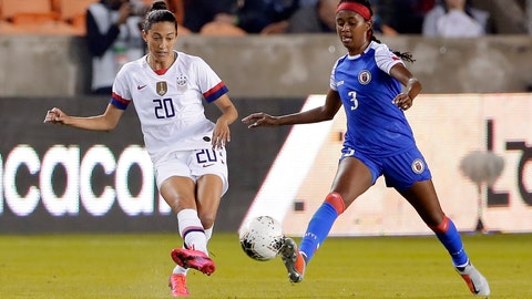 <p>               United States forward Christen Press (20) passes the ball in front of Haiti defender Chelsea Surprise (3) during the first half of a women's Olympic qualifying soccer match Tuesday, Jan. 28, 2020, in Houston. (AP Photo/Michael Wyke)             </p>
