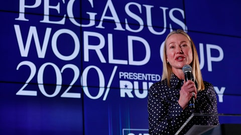 <p>               Belinda Stronach, chairman and president of the Stronach Group, speaks during the draw for the Pegasus World Cup Horse Race, Wednesday, Jan. 22, 2020, in Hallandale Beach, Fla. The race will run Saturday, Jan. 25 at Gulfstream Park in Hallandale Beach. (AP Photo/Wilfredo Lee)             </p>