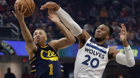 <p>               Cleveland Cavaliers' Dante Exum (1) drives to the basket against Minnesota Timberwolves' Josh Okogie (20) in the first half of an NBA basketball game, Sunday, Jan. 5, 2020, in Cleveland. (AP Photo/Tony Dejak)             </p>