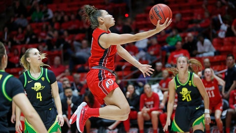 <p>               Utah guard Kiana Moore (0) lays the ball up as Oregon's Jaz Shelley (4) and Sabrina Ionescu (20) watch during the third quarter of an NCAA college basketball game Thursday, Jan. 30, 2020, in Salt Lake City. (AP Photo/Rick Bowmer)             </p>