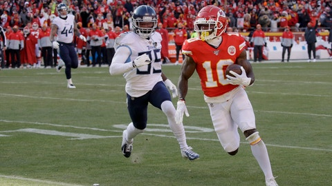 <p>               Kansas City Chiefs' Tyreek Hill runs for a touchdown during the first half of the NFL AFC Championship football game against the Tennessee Titans Sunday, Jan. 19, 2020, in Kansas City, MO. (AP Photo/Charlie Riedel)             </p>