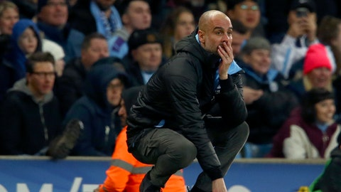 <p>               Manchester City's head coach Pep Guardiola reacts after a missed chance to score during the English League Cup semifinal second leg soccer match between Manchester City and Manchester United at Etihad stadium in Manchester, England, Wednesday, Jan. 29, 2020. (AP Photo/Dave Thompson)             </p>