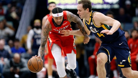 <p>               New Orleans Pelicans forward Brandon Ingram, left, is defended by Utah Jazz forward Bojan Bogdanovic, right, in the first half of an NBA basketball game in New Orleans, Monday, Jan. 6, 2020. (AP Photo/Tyler Kaufman)             </p>