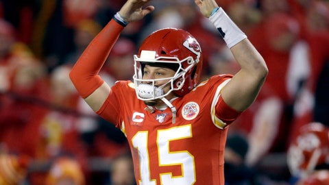 <p>               Kansas City Chiefs quarterback Patrick Mahomes celebrates in the final moments of an NFL divisional playoff football game against the Houston Texans, Sunday, Jan. 12, 2020, in Kansas City, Mo. (AP Photo/Charlie Riedel)             </p>