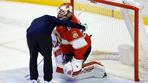 <p>               Florida Panthers goaltender Chris Driedger is helped off the ice during the first period of the team's NHL hockey game against the Los Angeles Kings, Thursday, Jan. 16, 2020, in Sunrise, Fla. (AP Photo/Brynn Anderson)             </p>