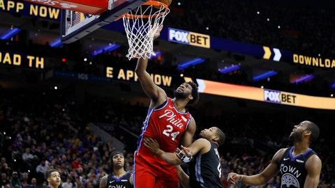 <p>               Philadelphia 76ers' Joel Embiid goes up for a shot against Golden State Warriors' Omari Spellman during the second half of an NBA basketball game Tuesday, Jan. 28, 2020, in Philadelphia. (AP Photo/Matt Slocum)             </p>