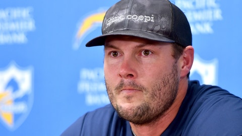 <p>               Los Angeles Chargers quarterback Philip Rivers reacts at a news conference following an NFL football game against the Kansas City Chiefs in Kansas City, Mo., Sunday, Dec. 29, 2019. (AP Photo/Ed Zurga)             </p>