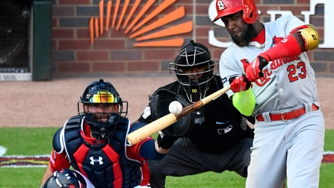 <p>               FILE - In this Friday, Oct. 4, 2019 file photo, St. Louis Cardinals left fielder Marcell Ozuna (23) hits a single against the Atlanta Braves in the fourth inning during Game 2 of a best-of-five National League Division Series in Atlanta. Free agent outfielder Marcell Ozuna and the Atlanta Braves reached an $18 million, one-year deal Tuesday, Jan. 21, 2020 that puts him on the team he helped beat in the playoffs last October. (AP Photo/Scott Cunningham, File)             </p>
