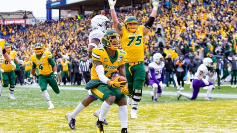 <p>               North Dakota State wide receiver Phoenix Sproles (11) smiles after scoring a touchdown during the first half of the FCS championship NCAA college football game against James Madison, Saturday, Jan. 11, 2020, in Frisco, Texas. (AP Photo/Sam Hodde)             </p>