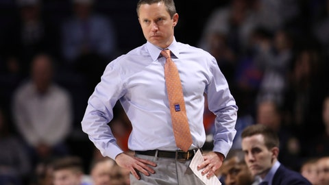 <p>               Florida head coach Mike White looks onto the court during the first half of an NCAA college basketball game against Baylor, Saturday, Jan. 25, 2020, in Gainesville, Fla. (AP Photo/Matt Stamey)             </p>