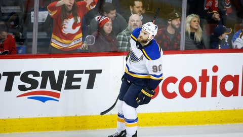 <p>               St. Louis Blues' Ryan O'Reilly celebrates his shootout goal against the Calgary Flames during an NHL hockey game Tuesday, Jan. 28, 2020, in Calgary, Alberta. (Jeff McIntosh/The Canadian Press via AP)             </p>