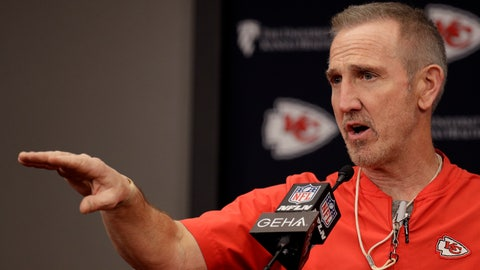 <p>               Kansas City Chiefs defensive coordinator Steve Spagnuolo addresses the media during an NFL football news conference Thursday, Jan. 23, 2020 at Arrowhead Stadium in Kansas City, Mo. The Chiefs will face the San Francisco 49ers in Super Bowl 54. (AP Photo/Charlie Riedel)             </p>