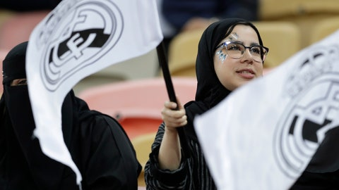 <p>               Fans on the stands, waiving Real Madrid flags, wait for the start of the Spanish Super Cup semifinal soccer match between Real Madrid and Valencia at King Abdullah stadium in Jiddah, Saudi Arabia, Wednesday, Jan. 8, 2020. (AP Photo/Hassan Ammar)             </p>