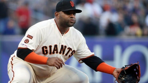 <p>               FILE - In this July 22, 2019, file photo, San Francisco Giants third baseman Pablo Sandoval get set during a baseball game against the Chicago Cubs in San Francisco. The 33-year-old Sandoval is working back from season-ending Tommy John reconstructive surgery on his right elbow. (AP Photo/Jeff Chiu, File)             </p>