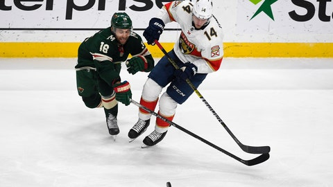 <p>               Minnesota Wild winger Jason Zucker (16) and Florida Panthers center Dominic Toninato battle for control of the puckduring the first period of an NHL hockey game Monday, Jan. 20, 2020, in St. Paul, Minn. (AP Photo/Craig Lassig)             </p>