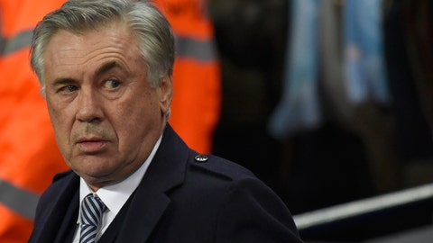 <p>               Everton's manager Carlo Ancelotti looks out from the bench before the English Premier League soccer match between Manchester City and Everton at Etihad stadium in Manchester, England, Wednesday, Jan. 1, 2020. (AP Photo/Rui Vieira)             </p>