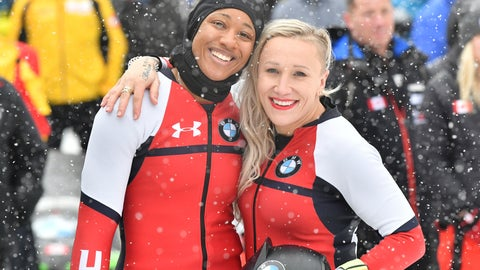 <p>               Third placed Kaillie Humphries and Sylvia Hoffmann, left, of the USA pose for media after their second run at the women's two-man bobsled World Cup race in Igls, near Innsbruck, Austria, Saturday, Jan. 18, 2020. (AP Photo/Kerstin Joensson)             </p>