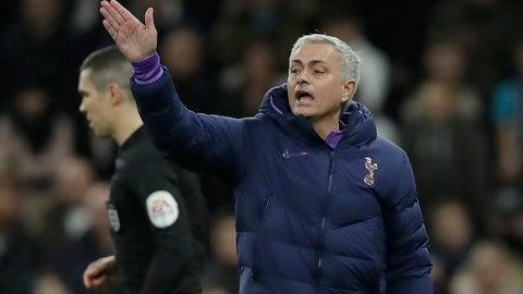 <p>               Tottenham's manager Jose Mourinho gestures during the English FA Cup third round replay soccer match between Tottenham Hotspur and Middlesbrough FC at the Tottenham Hotspur Stadium in London, Tuesday, Jan. 14, 2020.(AP Photo/Matt Dunham)             </p>