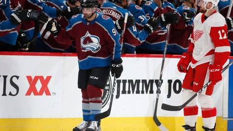 <p>               Colorado Avalanche center Nazem Kadri, back, is congratulated as he passes the team box after scoring a goal as Detroit Red Wings defenseman Filip Hronek looks on in the second period of an NHL hockey game Monday, Jan. 20, 2020, in Denver. (AP Photo/David Zalubowski)             </p>