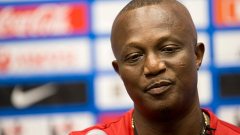 <p>               FILE - In this Sunday, June 8, 2014 file photo, Kwesi Appiah, coach of Ghana's national soccer team, talks to the media in Miami Gardens, Fla. The Ghana soccer association has fired all its national team coaches it was announced Friday, Jan. 3, 2019 in a drastic and unexpected move. That includes the coaches for the men's and women's senior national teams and all men's and women's youth teams.The move means Kwesi Appiah has been fired as coach of the men's senior team for the second time. (AP Photo/J Pat Carter, file)             </p>