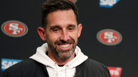 <p>               San Francisco 49ers head coach Kyle Shanahan smiles during a news conference after an NFL football game against the Seattle Seahawks, Sunday, Dec. 29, 2019, in Seattle. The 49ers won 26-21. (AP Photo/Stephen Brashear)             </p>