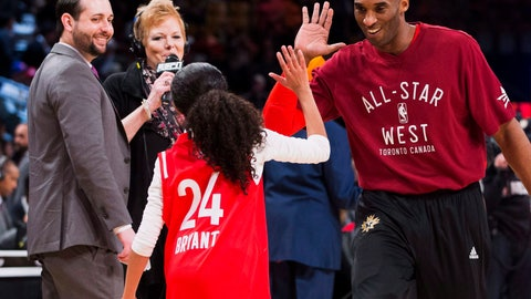 <p>               In this Feb. 14, 2016, file photo, Los Angeles Lakers Kobe Bryant (24) high-fives his daughter Gianna on the court in warm-ups before first half NBA All-Star Game basketball action in Toronto. Bryant, his 13-year-old daughter, Gianna, and several others are dead after their helicopter went down in Southern California on Sunday, Jan. 26, 2020. (Mark Blinch/The Canadian Press via AP)             </p>