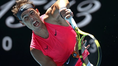 <p>               Spain's Rafael Nadal serves to Bolivia's Hugo Dellien during their first round singles match at the Australian Open tennis championship in Melbourne, Australia, Tuesday, Jan. 21, 2020. (AP Photo/Lee Jin-man)             </p>
