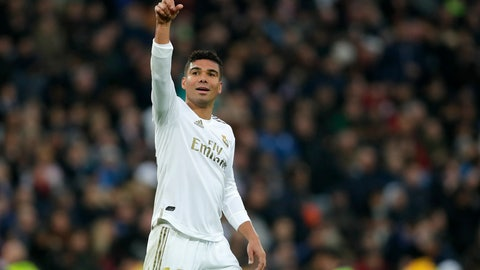 <p>               Real Madrid's Casemiro celebrates after scoring his side's second goal during the Spanish La Liga soccer match between Real Madrid and Sevilla at Santiago Bernabeu stadium in Madrid, Saturday, Jan. 18, 2020. (AP Photo/Manu Fernandez)             </p>
