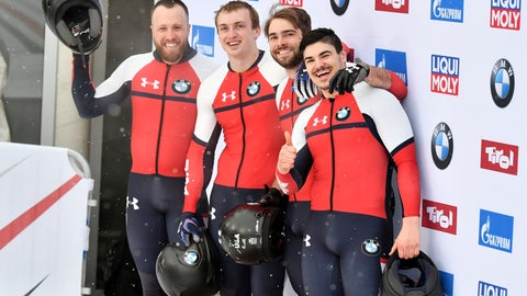 <p>               Third placed Hunter Church, Joshua Williamson, James Reed and Kristopher Horn of the United States pose for media after the men's four-man bobsled World Cup race in Igls, near Innsbruck, Austria, Sunday, Jan. 19, 2020. (AP Photo/Kerstin Joensson)             </p>
