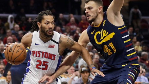 <p>               Detroit Pistons' Derrick Rose (25) drives against Cleveland Cavaliers' Ante Zizic (41) in the second half of an NBA basketball game, Tuesday, Jan. 7, 2020, in Cleveland. Detroit won 115-113.(AP Photo/Tony Dejak)             </p>