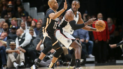 <p>               Atlanta Hawks guard Vince Carter (15) defends Los Angeles Clippers forward Patrick Patterson (54) in the first half of an NBA basketball game Wednesday, Jan. 22, 2020, in Atlanta, Ga. (AP Photo/Brett Davis)             </p>