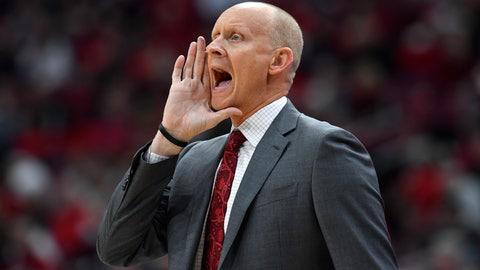 <p>               Louisville head coach Chris Mack shouts instructions to his team during the first half of an NCAA college basketball game in Louisville, Ky., Wednesday, Jan. 22, 2020. (AP Photo/Timothy D. Easley)             </p>