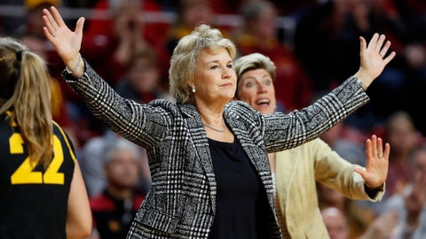 <p>               Iowa coach Lisa Bluder reacts to a call during the first half of an NCAA college basketball game against Iowa State, Wednesday, Dec. 11, 2019, in Ames, Iowa. (AP Photo/Charlie Neibergall)             </p>