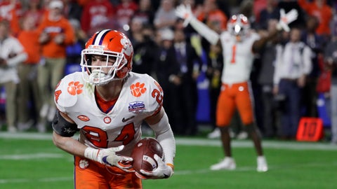 <p>               Clemson safety Nolan Turner (24) celebrates after his interception against Ohio State during the final minute of the Fiesta Bowl NCAA college football playoff semifinal Saturday, Dec. 28, 2019, in Glendale, Ariz. (AP Photo/Rick Scuteri)             </p>