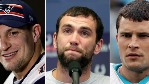 <p>               FILE - At left, in a Jan. 30, 2019, file photo, New England Patriots' Rob Gronkowski speaks with members of the media during a news conference in Atlanta. At center, in an Aug. 24, 2019, file photo, Indianapolis Colts quarterback Andrew Luck speaks during a news conference following the team's NFL preseason football game against the Chicago Bears, in Indianapolis. At right, in an Aug. 2, 2019, file photo, Carolina Panthers' Luke Kuechly watches teammates warm up at training camp in Charlotte, N.C. Life in the NFL is short. The recent retirements of three of the game's best 30-and-under stars -- Gronkowski, Luck and Kuechly -- could be coincidence or the start of a worrisome trend. (AP Photo/File)             </p>