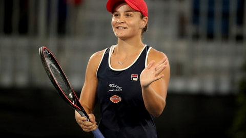 <p>               Ashleigh Barty of Australia celebrates winning against Danielle Collins of the United States during their Adelaide International tennis match in Adelaide, Friday, Jan. 17, 2020. (AP Photo/James Elsby)             </p>