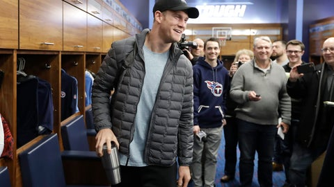 <p>               Tennessee Titans quarterback Ryan Tannehill leaves the locker room as players clean out their lockers Monday, Jan. 20, 2020, in Nashville, Tenn. The Titans lost the AFC Championship NFL football game Sunday to the Kansas City Chiefs. (AP Photo/Mark Humphrey)             </p>